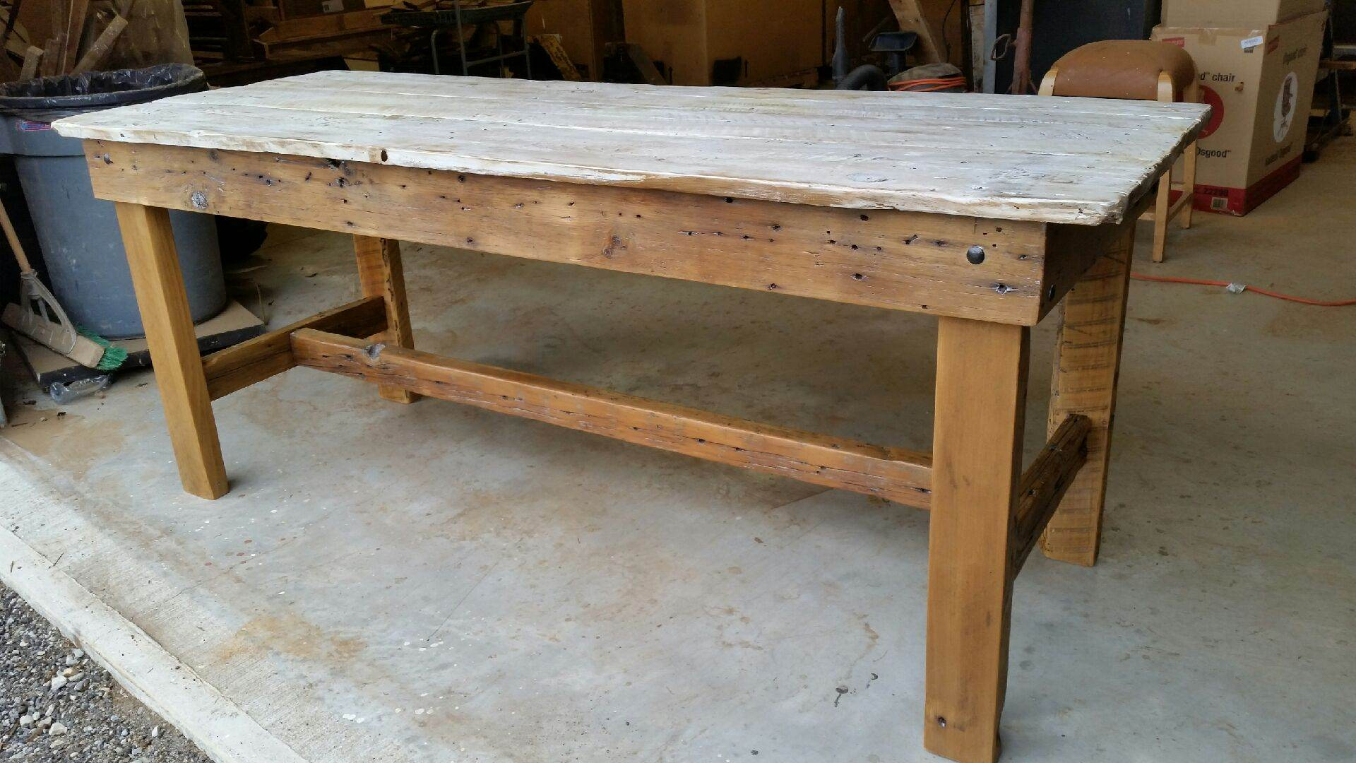 Rustic White Wash Barn Door Dining Table M Jones Creations