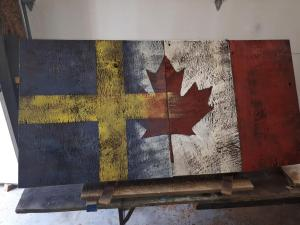 Custom Canadian/Swedish Barn Board Flag