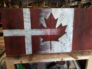 Custom Finish Canadian Barn Board Flag
