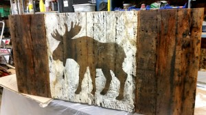 Brown Moose barn board Flag