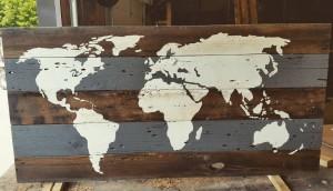 Barn Board World Map - Grey