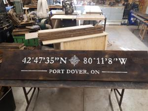 Port Dover locaiton sign on barnboard