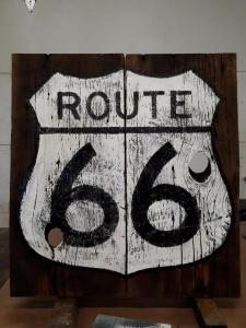 Route 66 Sign on Barn board