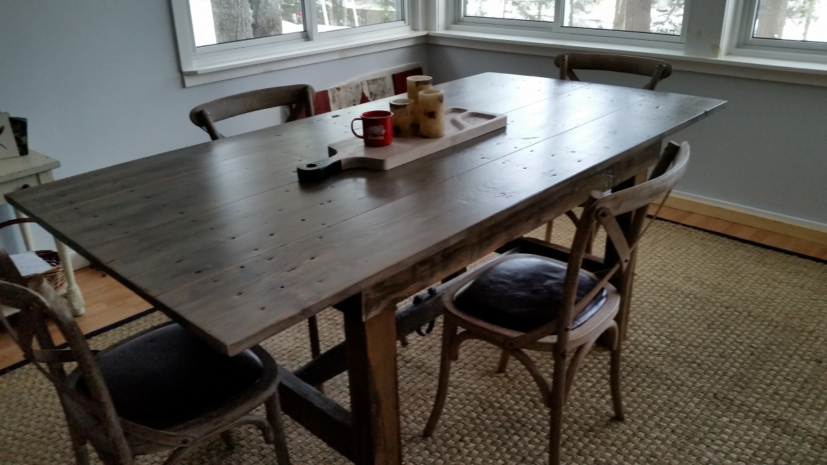 Custom Grey Barn Door Table