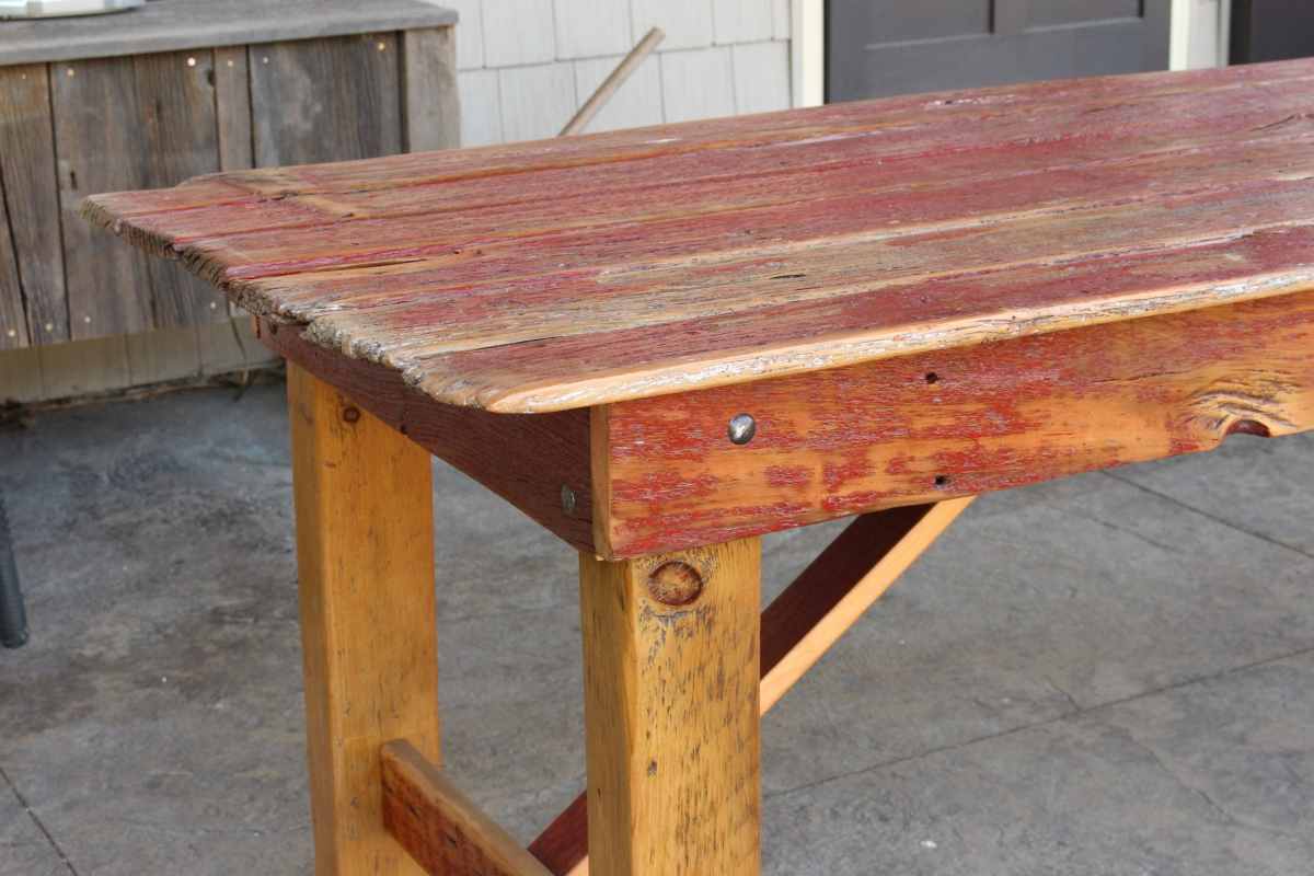 U201cOld Redu201d Barn Door Dining Table