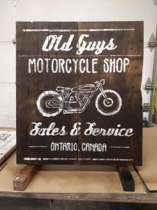 Old Guys Motorcycle Shop Sign