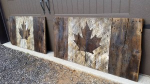 Barn Board Canadian Flags
