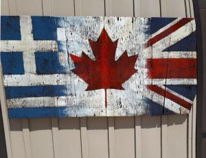 Custom Greece Canadian Union Jack Barn Board Flag
