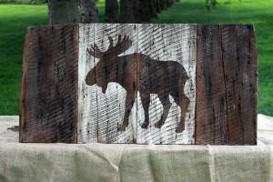Brown Moose barn board Flag