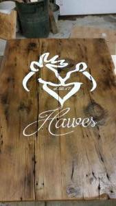 Hawes Wedding sign on barnboard