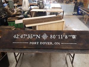 Port Dover locaiton sign on barnboard