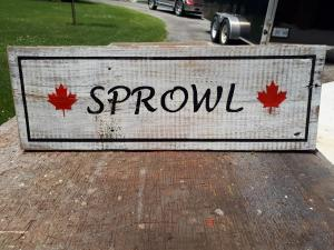 Sprowl Family Cottage rustic sign