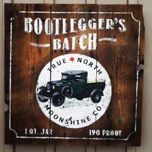 Bootlegger's Batch Moonshine sign