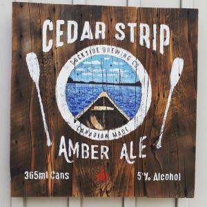 Cedar Strip Amber Ale sign